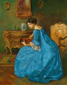 Girl in Blue with Guitar - Viktor Schramm