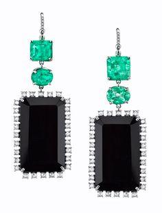 """Irene Neuwirth """"Emerald and Onyx"""" earrings"""