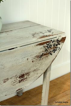 Vintage Drop Down Table - Furniture Makeover- Silhouette - www.turnstylevogue.com (2) With Grain Sack