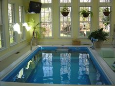 Endless Pool in a sunroom addition.