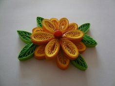 Quilled Double Flower with Leaves Quilling Flowers, Paper Quilling, Quilling Ideas, Quiling Paper Art, Paper Magic, Paper Crafts, Diy Crafts, Diy Projects To Try, Creative Crafts