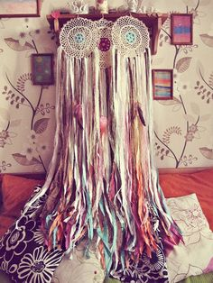 - Made to order! -   Gypsy dip dye rainbow colors wall hanging dreamcatcher  Made of hand dyed ombre cotton fabric stripes, laces, feathers, wooden beads and crochet doily ... #dreamcatcher