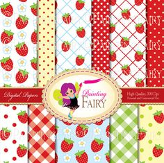 Papers Buy 2 get 1 Free Digital backgrounds Chic Red Strawberry color Sweet paper pack DIY layout images Personal & Commercial Use  by PaintingFairyClipart on Etsy, $3.99  Supplies Scrapbooking Paper handmade invitations designer resource cu backgrounds pack jpg checkered tablecloth printable striped cu retro summer fruits strawberries canning berry birthday party scrapbook polka dots fun strawberry field paper goods design vintage green blue card girl tablecloth