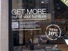 QR code in furniture shop window Multifunctional Furniture, Retail Windows, Retail Experience, Retail Design, Coding, Social Media, Business, Qr Codes, Window Shopping