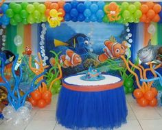 Explore popular Impressive Nemo Decorations Finding Nemo Party Decorations design recommendations in various photographs from Angela Edwards, home re. Finding Nemo Party Supplies, 3rd Birthday Parties, Birthday Ideas, 2nd Birthday, Balloon Decorations, Finding Dory, Finding Memo, Nemo Cake, Cake Table