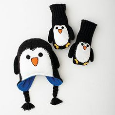 Penguin Character Hat & Mittens