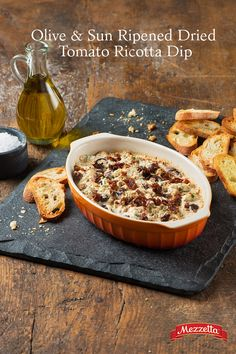 Entertaining this holiday season? Whip up this Olive & Sun Ripened Dried Tomato Ricotta Dip for a warm and creamy appetizer all your guests will enjoy. Learn how!