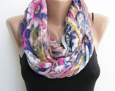 Infinity scarf Floral multicolor loop scarf by sascarves on Etsy, $27.00