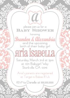 Baby Girl Shower Invitation Pink & Gray by pickledoodledesigns, $12.00
