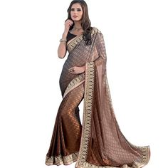 Stunning Light Gold Crepe Jacquard Saree with Blouse at DealsPricer India