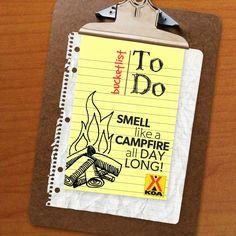 KOA Camping Bucket List - Smell like a campfire all day long!