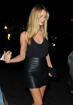 All black, leather mini and cami.
