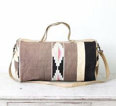 Kilim Ethnic Travel Bag Turkish Wool Leather Vintage - I need this weekender bag.  Would make my life so much easier in the summer.