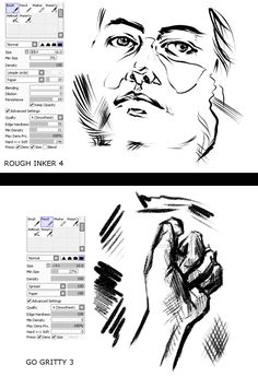 I've been seeing this post floating around with these handsome pretty photoshop brushes and decided to see if I could mimic the effects in SAI. Brush Drawing, Drawing Tips, Drawing Tutorials, Art Tutorials, Painting & Drawing, Digital Painting Tutorials, Digital Art Tutorial, Painting Tools, Sai Brushes