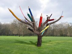 Color pencils tree by Dave Rittinger. This public art installation in North Philadelphia