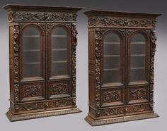 Pr. highly carved Coninental bookcases : Lot 157