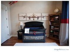 Vintage airplane baby boys room