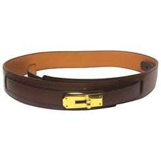 MINT. Vintage HERMES brown courchevel leather Kelly belt. Stamp S in O, 1989.