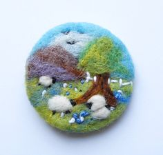 Needle felted brooch, pin, wool, 'Checking the twins', sheep, mothers day, easter gift