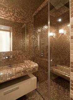 Image Salle de bain en mosaïque nacrée beige/marron FELD ARCHITECTURE