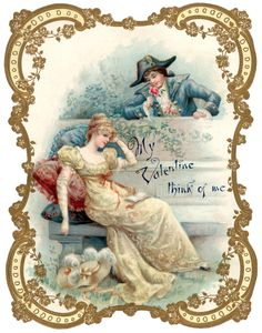 Vintage Valentine with Man and Lady Clip Art