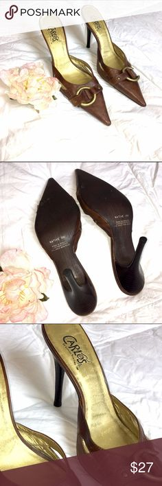 Carlos Santana Brown Leather Slide Heels  These are so comfy and sophisticated. Work or play! Check out all of my other listings for great deals! Bundle or offer to save! Happy Shopping Carlos Santana Shoes Mules & Clogs
