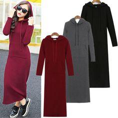 Winter Women Fleece Hoodie Sweatshirts Slim Pullover Bodycon Sweater Long Dress | eBay
