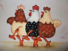 # three friends rnrnSource by mveganebrokkoli Chicken Crafts, Chicken Art, Applique Patterns, Applique Quilts, Applique Ideas, Embroidery Applique, Tole Painting, Fabric Painting, Ostern Cartoon