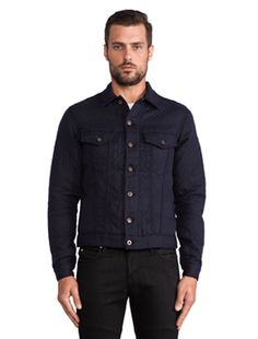 Naked & Famous Denim Quilted Cotton/Wool Double Denim Jacket in Navy | REVOLVE