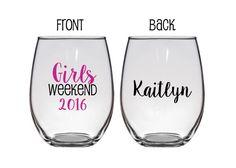 Girls Weekend, Girls Getaway, Customizable Wine Glasses, Personalized Wine Glasses by WeddingsByLeann on Etsy https://www.etsy.com/listing/229119536/girls-weekend-girls-getaway-customizable