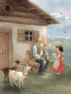 HEIDI and Grandfather with little goats Schwanli and Baerli (Little Swan and Little Bear) in Swiss Alps -- artwork, Maja Dusikova (Tumblr) Childhood favorite!