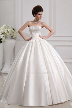 US $231.00   Satin Strapless Floor Length Ball Gown Wedding Dress with Crystal