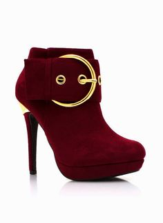 Oxblood ankle boots with gold accent Ankle Boots, Heeled Boots, Bootie Boots, Shoe Boots, Shoes Heels, Cute Shoes, Me Too Shoes, Cinderella Shoes, Red Boots