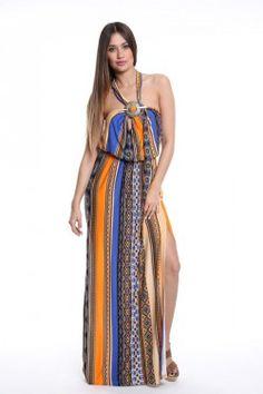 Φόρεμα εμπριμέ με μεταλλικό στοιχείο στο στήθος