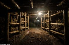 A reinforced area is seen deep in the Osowka underground complex. The tunnel network stret...