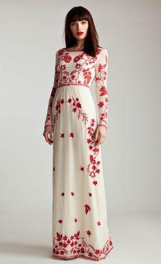 embroidered wedding dress design idea // Long Clover Dress // Temperley London