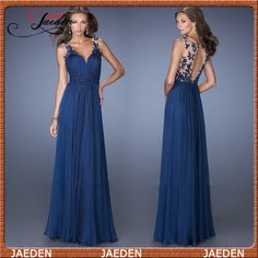 HE112 Spagheti Straps V-neck Lace Appliqued Pleated Chiffon Dark Blue Evening Dress 2015 Keyhole Back Evening Gown $127.99