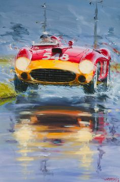 – Acrylic on canvas / Acrylic on canvas – Size / size 100 / – Price on request / Price upon request Auto Illustration, Car Part Art, Bike Poster, Vintage Race Car, Car Drawings, Automotive Art, Car Painting, Car Photography, Concept Art