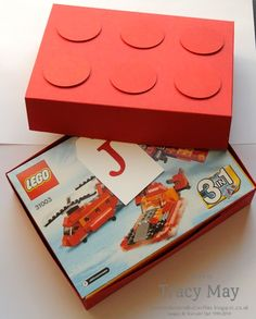 Stampin up uk lego gift box independent demonstrator Tracy May Creative Gift Wrapping, Creative Gifts, Wrapping Ideas, Lego Birthday Cards, Lego Gifts, Cute Gift Boxes, Kids Scrapbook, Pretty Packaging, Paper Gifts