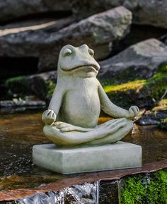 Find your center with the Campania International Mini Zen Frog Cast Stone Garden Statue which provides a calming charm to your garden for years to come. Stone Garden Statues, Frog Statues, Garden Stones, Animal Statues, Zen Meditation, Meditation Corner, Classic Garden, Cast Stone, Yard Art