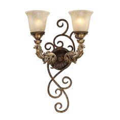 Regency 2 Light Wall Sconce In Burnt Bronze And Gold Leaf 2155/2