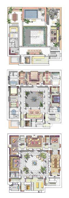 Modern House Floor Plans, New House Plans, Dream House Plans, Morrocan House, Hotel Floor Plan, Courtyard House Plans, House Blueprints, House Layouts, House Design