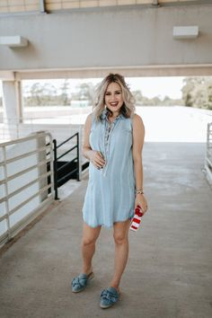 Cute Patriotic Outfit: Chambray Dress by Houston fashion blogger Uptown with Elly Brown