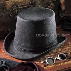 Top Hat and Glasses Victorian Black Coachman Steampunk Shades Gothic Costume | eBay