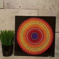 Cadre Mandala 10 x 10 Dot Art Painting, Mandala Painting, Painting Patterns, Stone Painting, Art Patterns, Abstract Art, Mandala Meditation, Meditation Stones, Mandala Canvas