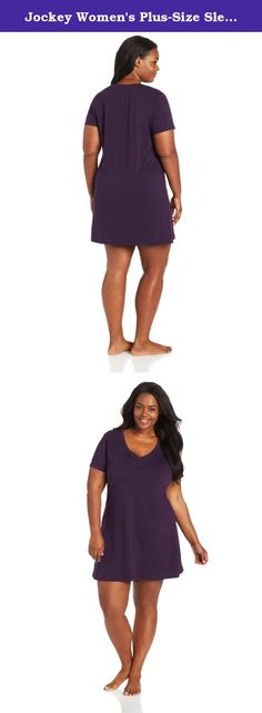 Jockey Women's Plus-Size Sleep Tee, Eggplant, 1X. Designed for effortless comfort in pure cotton, the jockey iconic sleep shirt is a classic favorite for everyday wear.