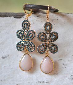 Peachy Pink and Dark Turquoise Statement Earrings in by RusticGem