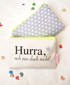 "Kosmetiktasche ""Hurra"" für Pessimisten / cosmetic bag, funny saying, confetti party made by Rasmussons via DaWanda.com"