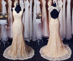 Custom Made Champagne Lace Wedding Dresses Lace by RetroDresses, $279.99