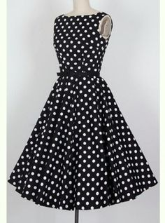 Vintage Inspired Scoop Neck Pleated Polka Dot Sleeveless Country  Dress. Comes with belt.Material: Cotton BlendSilhouette : PleatedDresses Length: Mid-CalfNeck-line: Round CollarSleeves Length: SleevelessAvailable Sizes: S, L, XL